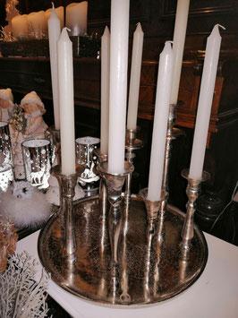 Kerzenteller Aluguss mit 8 befestigten Kerzhaltern