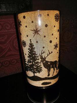 Weihnachtslicht/Winterlicht in champagner mit Hirsch und Tanne