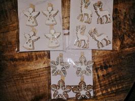 Beutelchen mit 4 Holzklammern - Engel, Elch, Stern