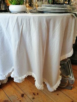 Tischdecke groß in cremeweiss bzw. eierschale mit Rüschen