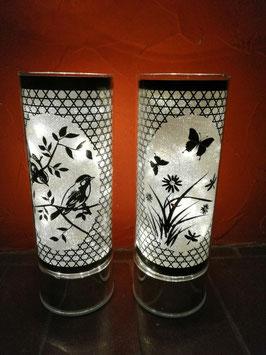 LED-Lampen Frühling Silber/Schwarz (1. Bild mit Licht, 2. Bild ohne Licht)
