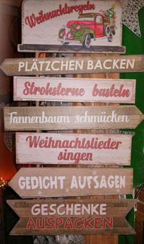 """Wandschild, Türschild """"Weihnachtsregeln"""" aus Holz"""