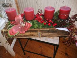 künstliches Weihnachtsgesteck/Weihnachtsschale in rot