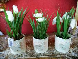 künstliche Frühlingsblüher im Blechtopf grün/weiß