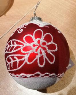 Weihnachtsbaumkugel bourdeaux/weiß, Durchmesser 8 cm