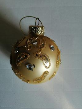 Baumbehang/Glaskugel in champagner/silber/gold mit Strass, Durchmesser 6 cm