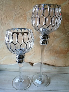 Glaswindlicht Glas/silber  (hier im Bild links die kleine Variante)