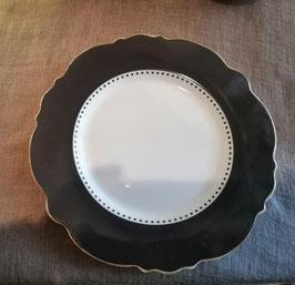 Teller Porzellan grau/weiß mit Gold verziert (passend zum Platzteller)
