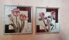gerahmtes Bild (Holzrahmen) antiksilber 33 x 33 cm - hier im Bild Tulpen - links