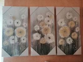 """Bilder """"Blumen"""" Leinwand Öl/Metall/Sisal silber/vanillie/weiß/silber/mehrere Stufen Grau"""