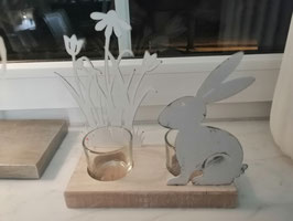 Windlicht Ostern/Frühling - Holz-Metall