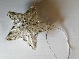Glasstern zum Hängen als Baumbehang (klein) , 8 cm, silber