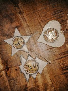 Weihnachtsbaumanhänger/Geschenkanhänger Stern, Herz, Baum in creme/gold