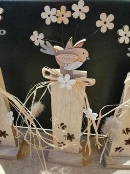 Dekoobjekt (Vogel/Blumen)  in Natur/Holz