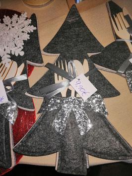 Bestecktaschen für die Weihnachtstafel 3er Set in dunkelgrau und hellgrau