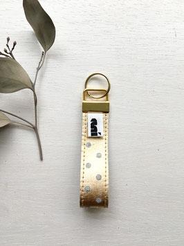 Schlüsselanhänger aus Filz, Hellgrau/Gold