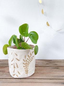 Stoffkorb mit Pflanzenmotiven, Creme/Gold