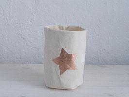 Stoffkorb mit Stern, Creme/Kupfer
