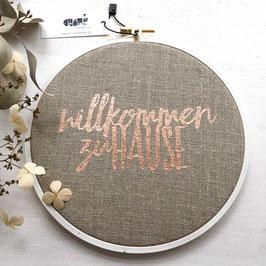 """Spruchrahmen """"Willkommen Zuhause"""", Natur/Kupfer"""