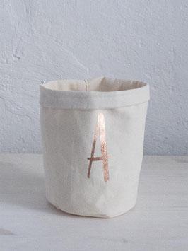 Stoffkorb mit Monogram nach Wahl, Creme/Kupfer klein