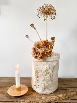 Stoffkorb mit Pflanzenmotiven, Creme/Gold - UNIKAT
