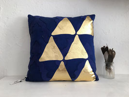 "Kissen ""Triangle"", Dunkelblau/Gold"