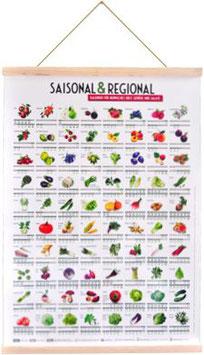 Saisonkalender mit Posterleisten aus Eichenholz