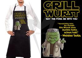 Grillschürze Schwarz: Grill Wurst - May the Pork be with you