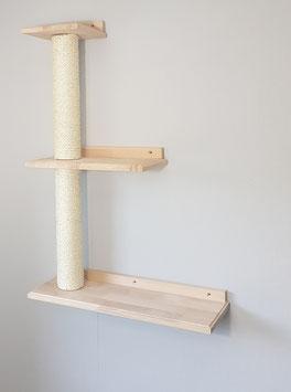 Wandparkelement, Dreifach Plattform rechts mit jeweils 40 cm Sisalstamm