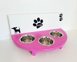 Hundefutterbar mit 3 Näpfen, 2 farbig, 3 x 750 ml, halbrund -inkl. Näpfe und Deko-