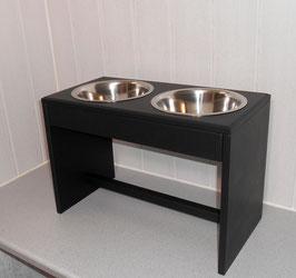 Hundefutterbar, 2 Näpfe, 2 x 1500 ml, schwarz
