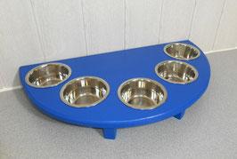 Futterbar mit 5 Näpfen, in Blau, halbrund