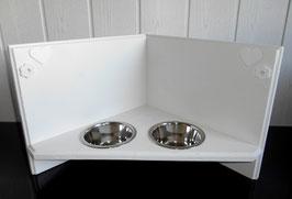 Katzenfutterbar / Eckfutterbar in weiß