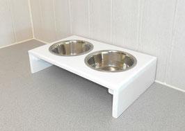 Hundefutterbar mit 2 Näpfen ( 2 x 1500 ml), in weiß