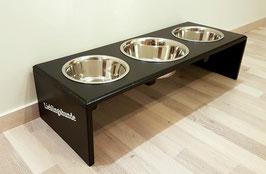 Hundefutterbar mit 3 Näpfen, in schwarz. Schriftzug (w)