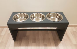 Hundefutterbar, 3 x 1500ml Näpfe, anthrazit, 40 cm hoch.