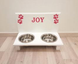 Hundefutterbar mit 2 Näpfen, weiß, 2 x 750ml / 2 x Pfoten pink + Namen