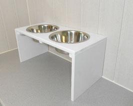 Hundefutterbar, 2 x 2400ml Näpfe, weiß