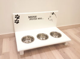 Katzenfutterbar mit 3 x 350 ml, weiß, 2 Pfoten + Katze + Meins! Pfoten weg...