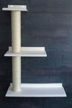 Dreifach Plattform rechts mit jeweils 40 cm Sisalstamm (lackiert)