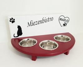 Katzenfutterbar mit 3 Näpfen, 2 farbig, 3 x 350 ml -inkl. Näpfe und Deko-