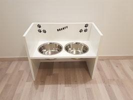 Hundefutterbar, 2 Näpfe, 2 x 1500 ml, in weiß, Pfoten