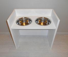 Hundefutterbar, 2 Näpfe, 2 x 2400 ml, in weiß