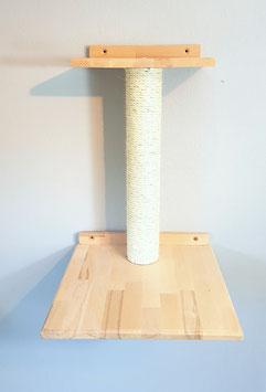 Wandparkelement, Doppel-Plattform eckig mit 50 cm Sisalstamm