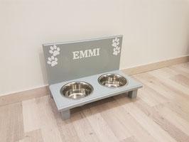 Hundefutterbar mit 2 Näpfen, lichtgrau 2 x 750ml, 4 Pfoten + Name (w)