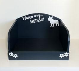 Hundebett, Hundesofa in anthrazit mit Pfoten weg... Meins. Französische Bulldogge. Auswahl: mit oder ohne Kissen