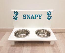 Hundefutterbar mit 2 Näpfen, weiß, 2 x 750ml / 4 Pfoten + Namen in türkis