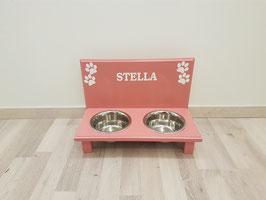 Hundefutterbar mit 2 Näpfen, altrosa 2 x 750ml, 4 Pfoten + Namen