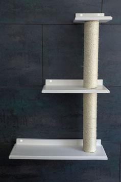 Katzen Wand, Dreifach Plattform links mit jeweils 40 cm Sisalstamm (lackiert)