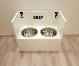 Hundefutterbar, 2 Näpfe, 2 x 1500 ml, in weiß, unten zu